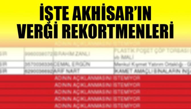 İşte Akhisar'ın Vergi Rekortmenleri